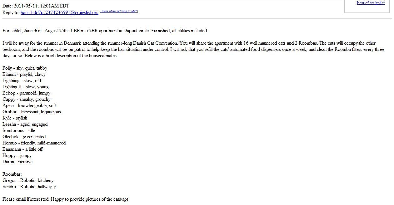 dear sir or madam,: dc craigslist - please sublet my apartment while