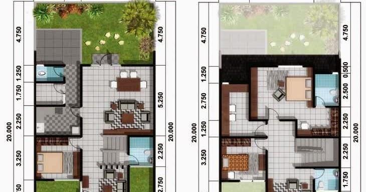 5 denah rumah sederhana 2 lantai dengan lebar muka sempit