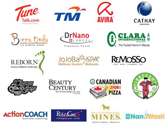 Tune Talk.com, Bizzy Body, Cathay, Avira, TM Telcom, DrNano, Remosso, Reborn, Beauty Century, Clara International