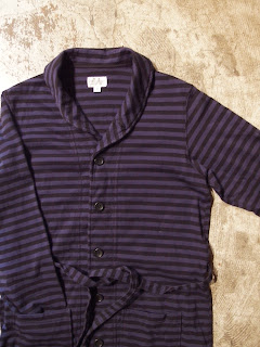 fwk by engineered garments long knit cd in blue/black stripe jersey
