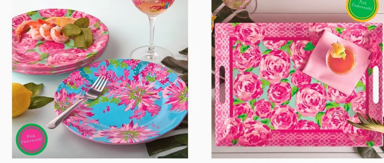 lilly pulitzer melamine tray plate hotty pink first impression