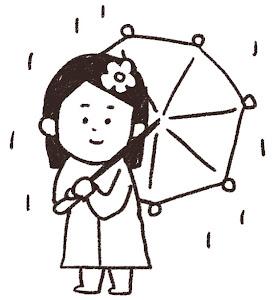 傘を持った女の子のイラスト(梅雨)線画