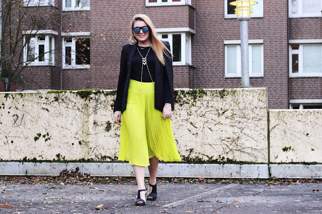 Pleated Neon Culotte and Cape Blazer
