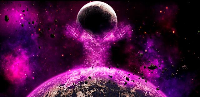 Terra envolta de luz violeta em 2036