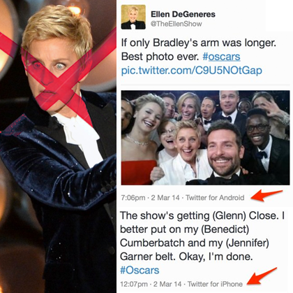 Ellen at the Oscars 2013 with Samsung Galaxy Note