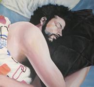 fragmento de la obra Crisálida de hombre durmiente II, de la pintora Eva Román, retrato del autor - haz click sobre la imagen para ver el cuadro