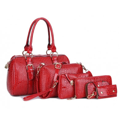 AA FASHION BAG ( 6 IN 1 SET) (RED)