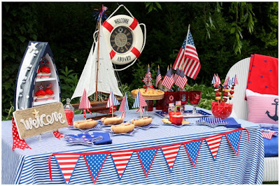Nautical red, white, and blue party from Pizzazzerie