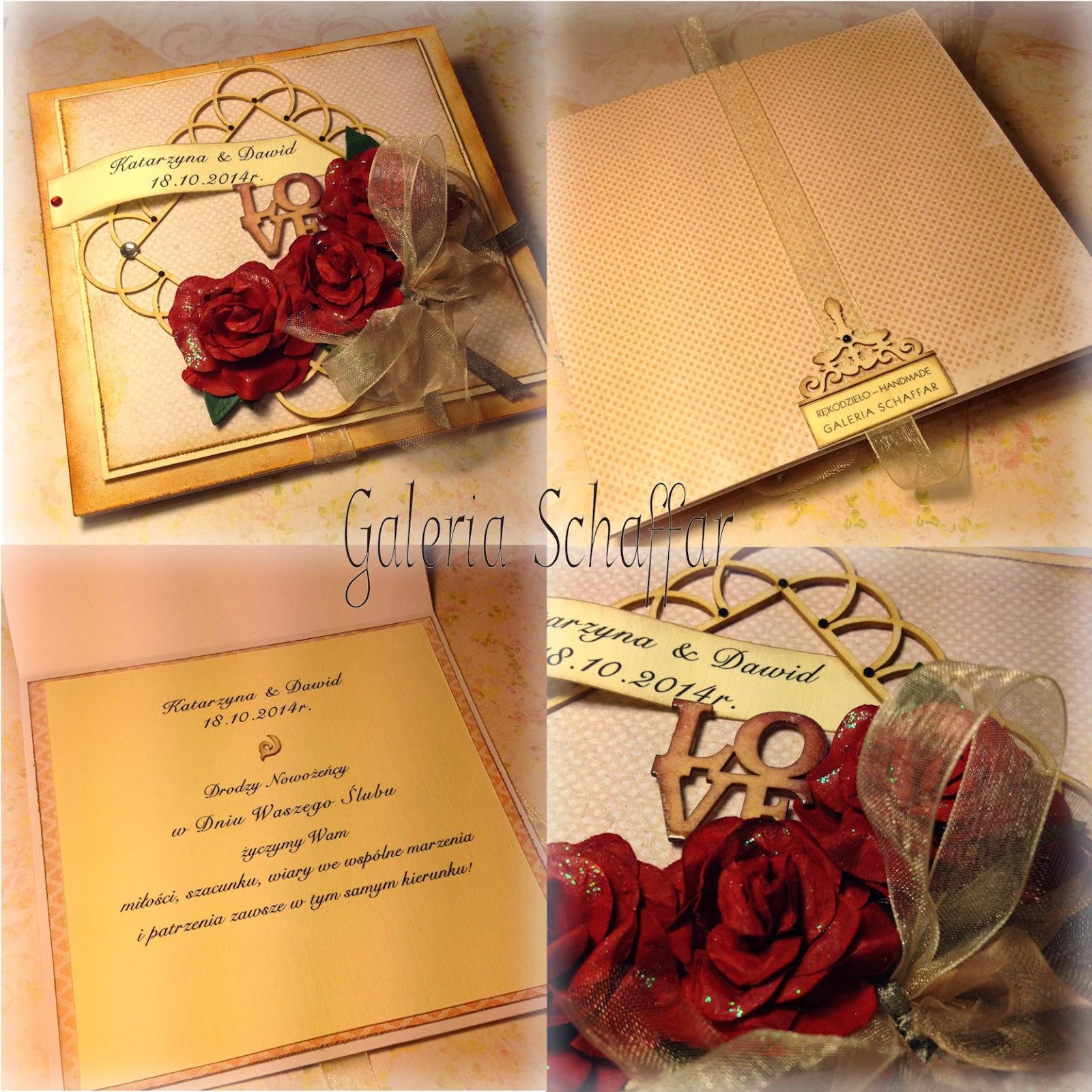 elegancka nietypowa klasyczna kartka na ślub galeria schaffar