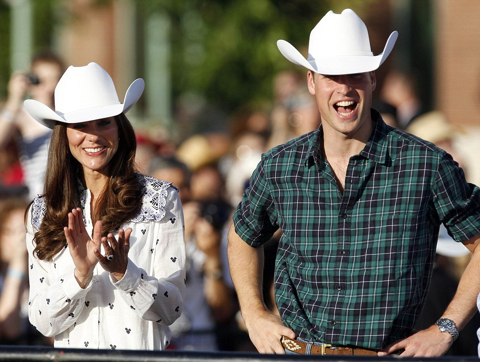 Beaming  The royal couple look the part in their matching stetson hats as  they get into the rodeo spirit in Calgary c374e0780c1d