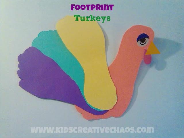 Paper Footprint Art Turkey Thanksgiving