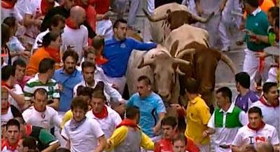 Momento delos encierros de San Fermín 2012 en Pamplona