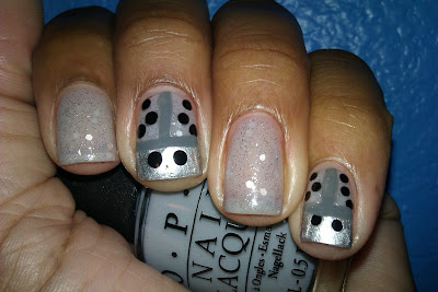 OPI, silver, ladybug, polka dot, glitter, nail art, mani