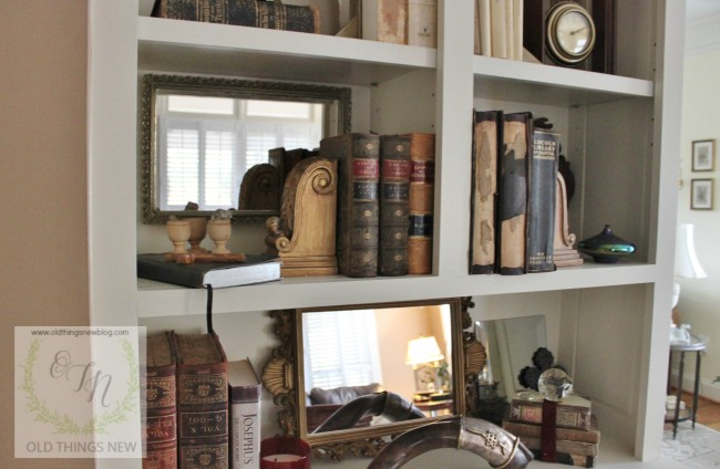 Old Things New- Bookshelf Vignettes-Treasure Hunt Thursday- From My Front Porch To Yours