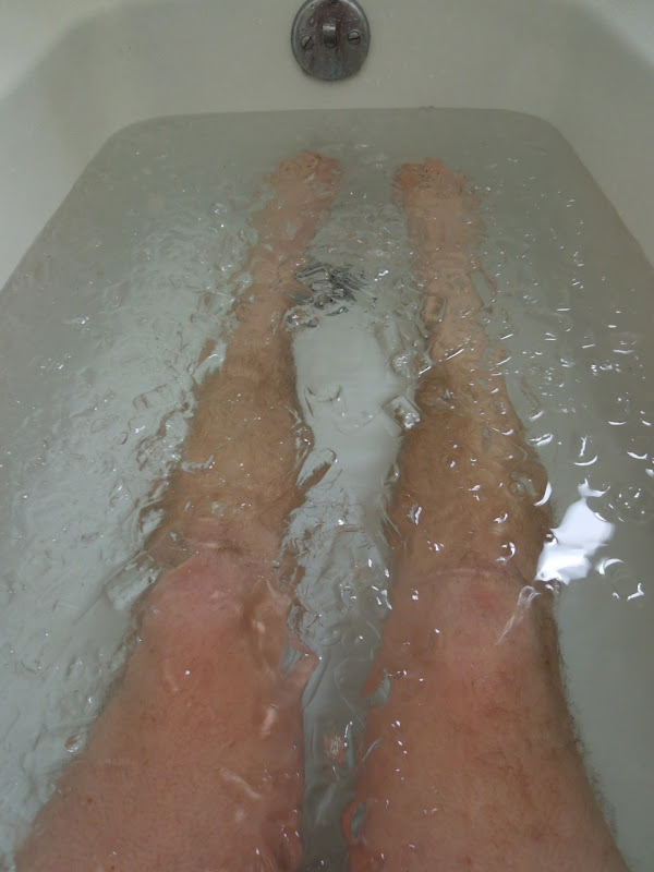 Legs in ice bath