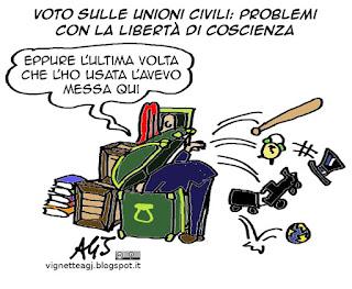 voto di coscienza, unioni civili, satira, vignetta