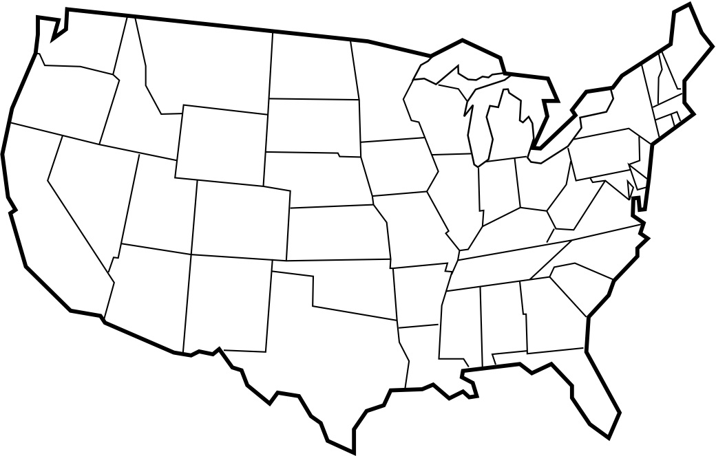This is a photo of Punchy Blank Usa Map Printable