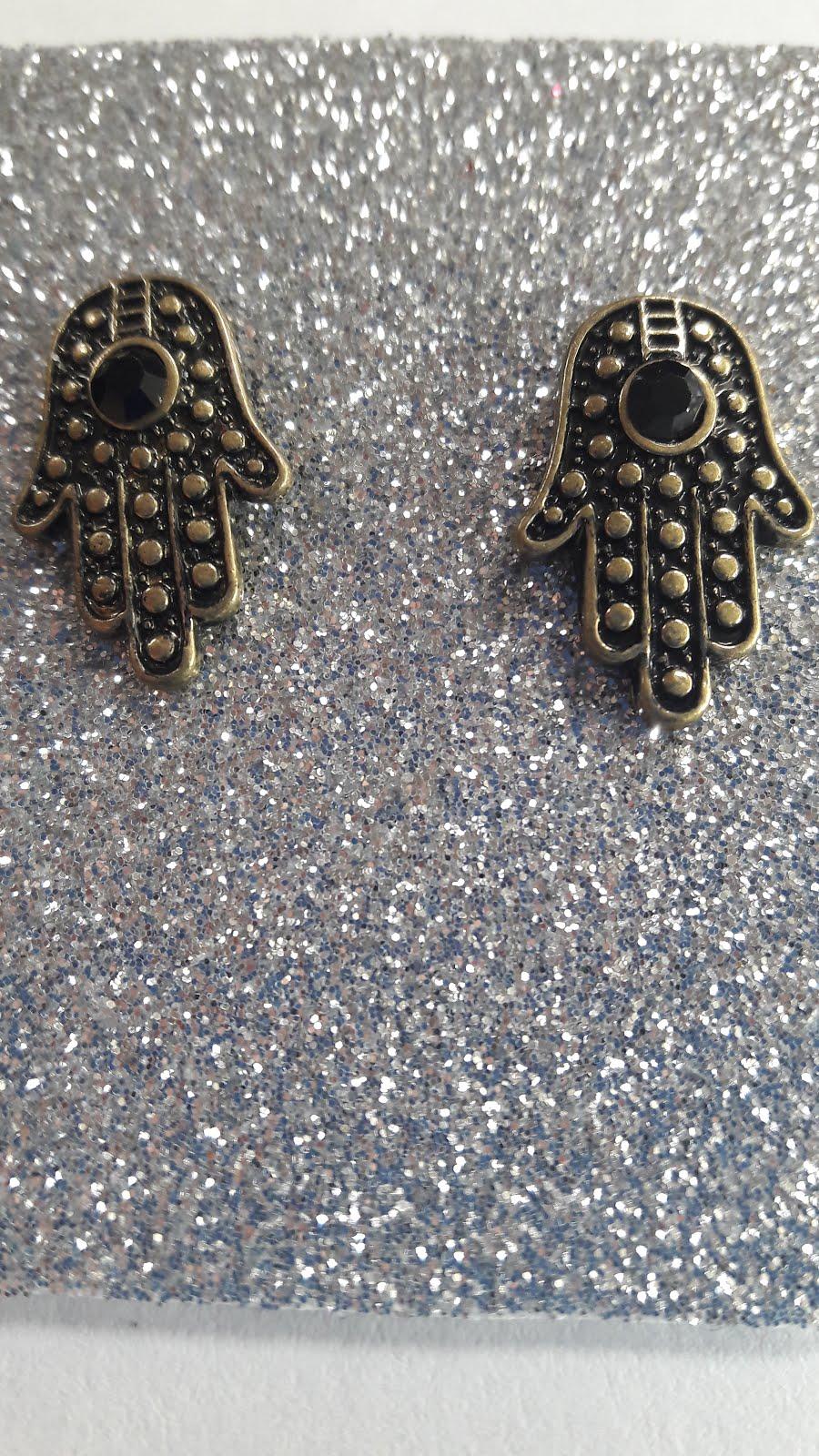 Aretes topos Hamsa piedra dorado envejecido 2 ctms.