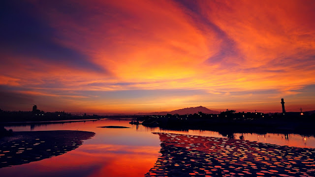 Town Sunset River Orange Sky HD Wallpaper