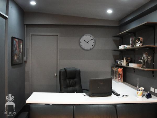 dark walls, black walls, home office, stripe wall, display shelves, black room