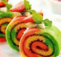 Rainbow Rolls Cake