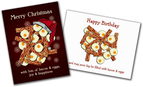 Sold! Bacon and eggs Christmas Card and Birthday Card