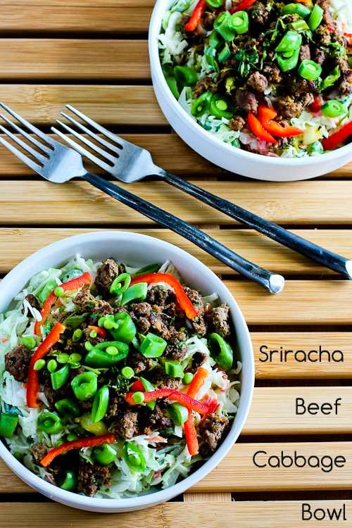 Sriracha Beef Cabbage Bowl found on KalynsKitchen.com