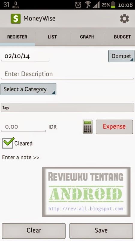 Tampilan utama MoneyWise versi 4.4.4 - Aplikasi android untuk mengatur keuangan & melihat riwayat pendapatan dan pengeluaran beserta laporan berbentuk grafik (ulasan oleh revall.blogspot.com)
