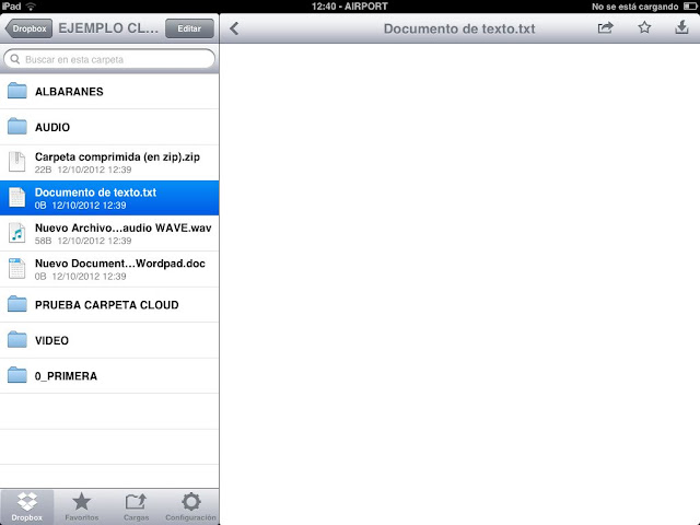 Presentacion de archivos en iPad sincronizados con dropbox