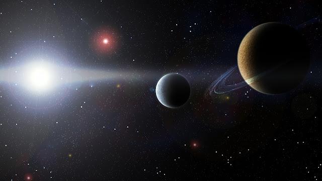 estrella de colores y planeta en el espacio