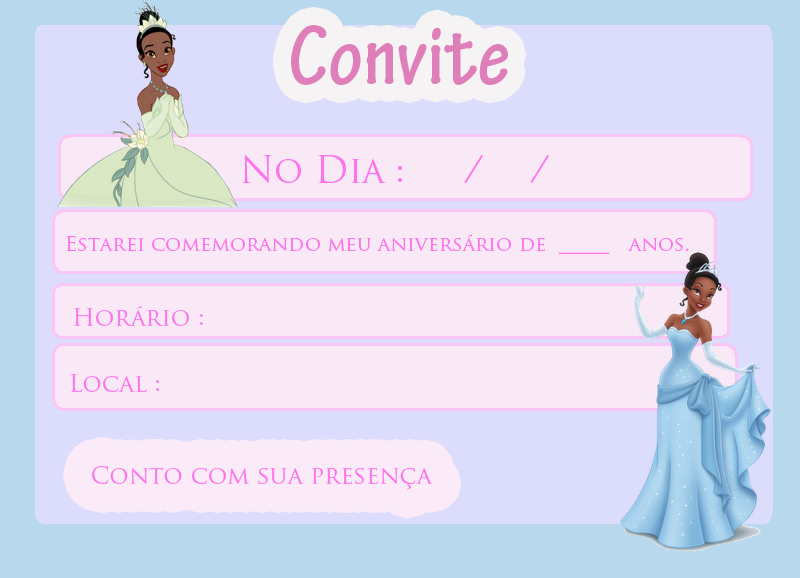 convite princesa tiana