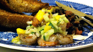 shrimp black beans cucumber mango relish