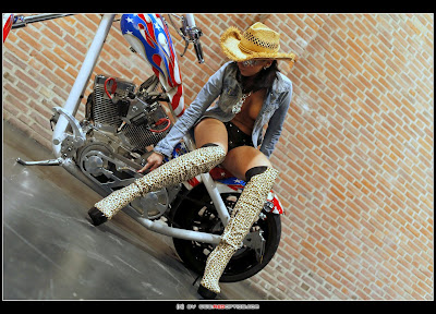 Sexy Bike Babe in Boots on Harley