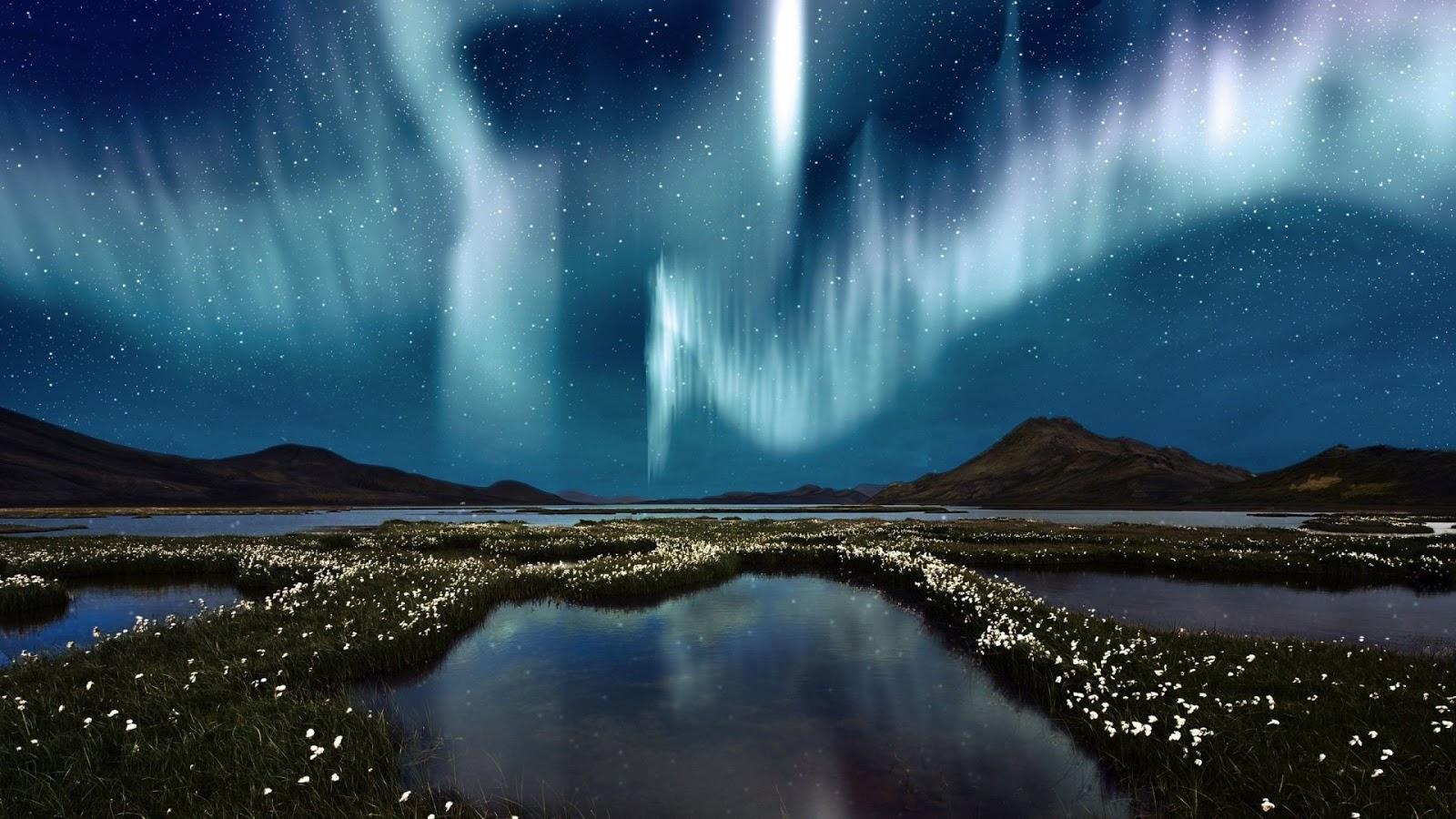 Blue White Aurora Borealis