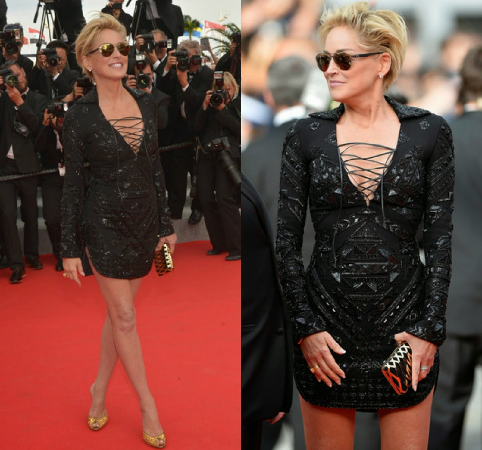 Sharon stone black and white dress in cannes
