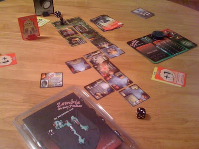 Zombie in my Pocket board game in play
