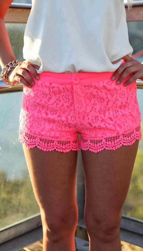 Cute pink floral lace mini short style