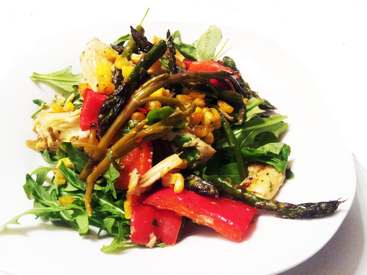 ... of Meat: Roasted Vegetable Salad with Basil Vinaigrette & Chili Oil
