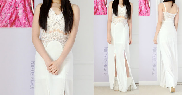 Make yourself look like a Greek goddess with this all-white eyelash-lace trim and cutout-detailed bustier-style maxi dress from SheIn.