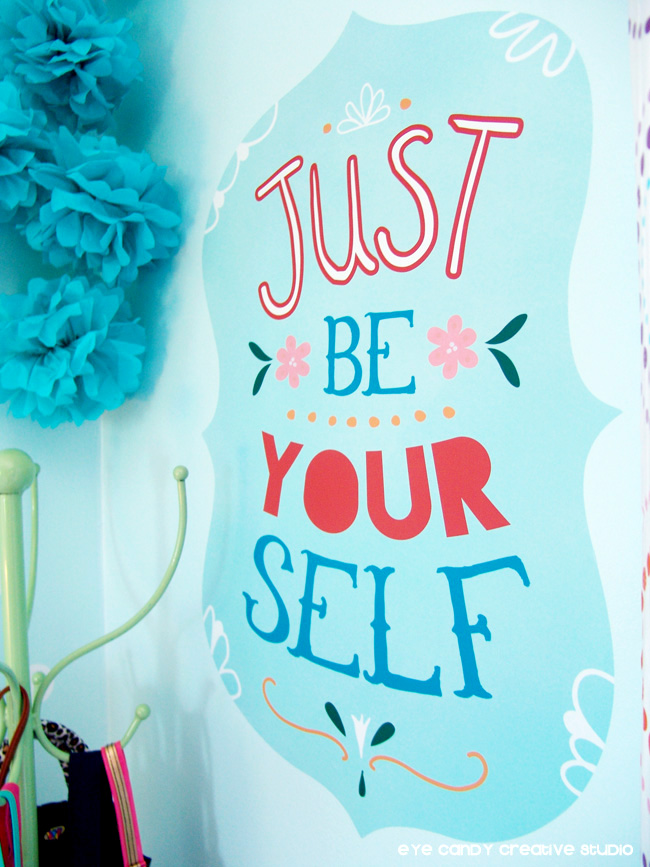 just be yourself, wall decor, wallternatives vinyl wall deal, positive message