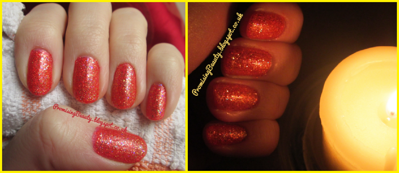 Orange, copper, glittery autumn nails, by candlelight