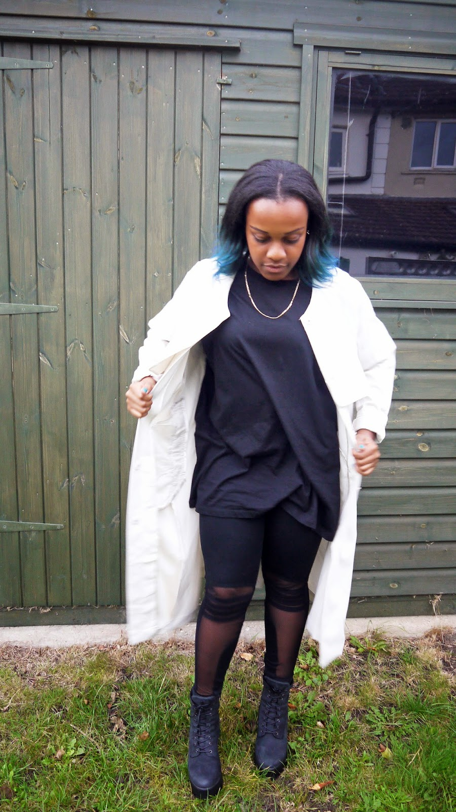 La Mode D'Emm Black ASOS Oversized T-Shirt Mesh Panel Topshop Leggings New Look Chunky Cleated Black Boots HM Duster Coat