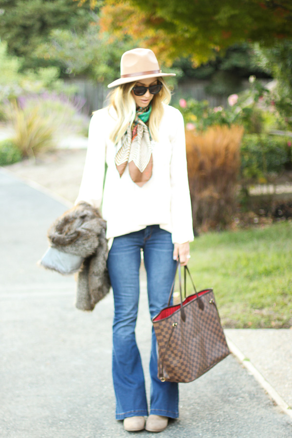 flare jeans with booties for fall