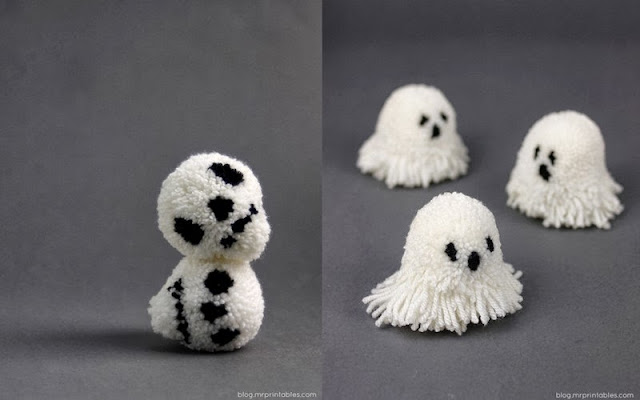 ghost and skull pom poms