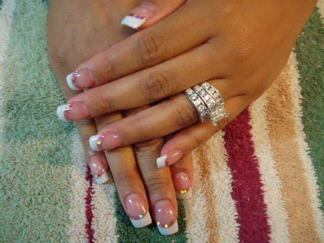 acrylics LED polish manicure with sequin feats nail art design sculpted gel nails with sequins.
