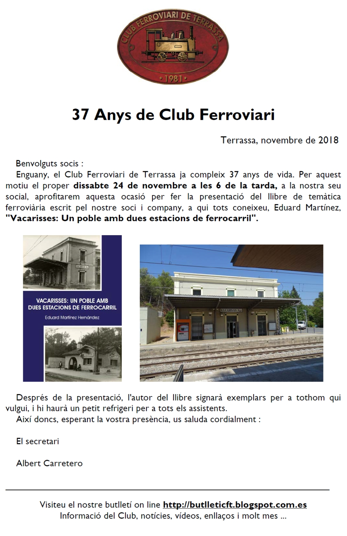 37 Anys de Club Ferroviari de Terrassa:  Presentació de llibre