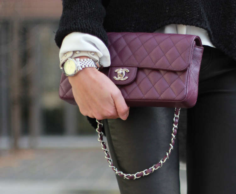 chanel purple classic flap