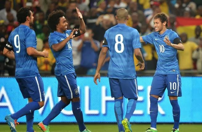 منتخب البرازيل يسحق مستضيفه الجنوب إفريقي بخماسيةٍ نظيفة في المباراة الودية اليوم 5/3/2014