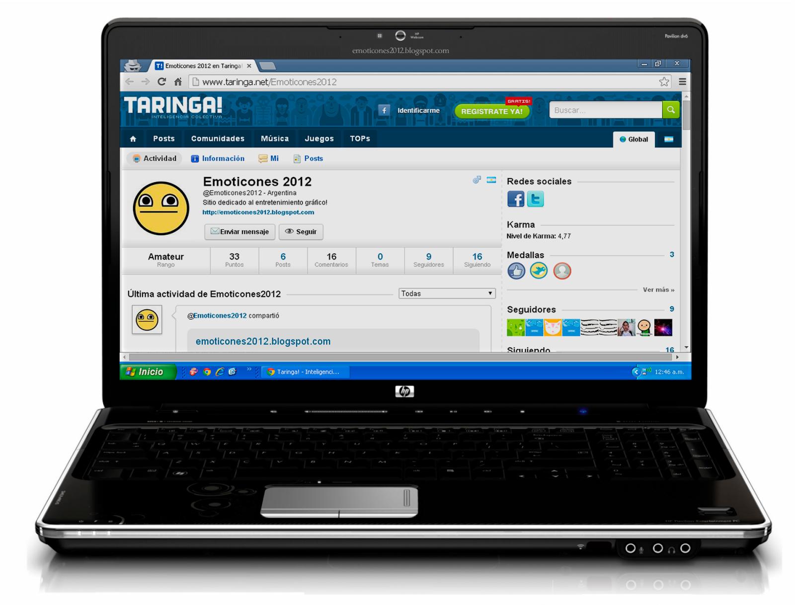 Perfil de usuario de Taringa en pantalla de Laptop HD