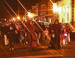 Christmas time in Hermann Missouri during the annual Lantern Parade through down town.